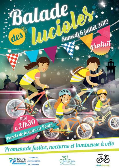 Flyer de la Balade des Lucioles du samedi 6 juillet 2019. @Syndicat des Mobilités de Touraine