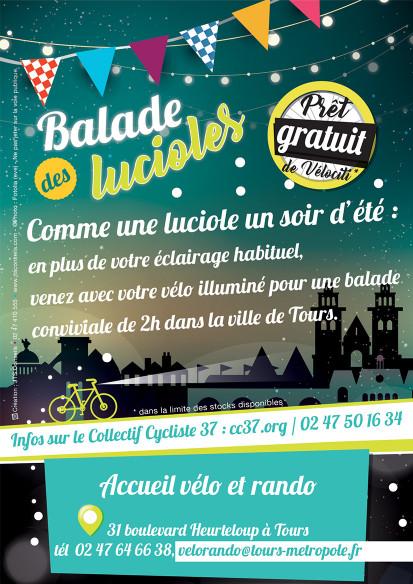 Flyer de la Balade des Lucioles du samedi 6 juillet 2019 (verso). @Syndicat des Mobilités de Touraine