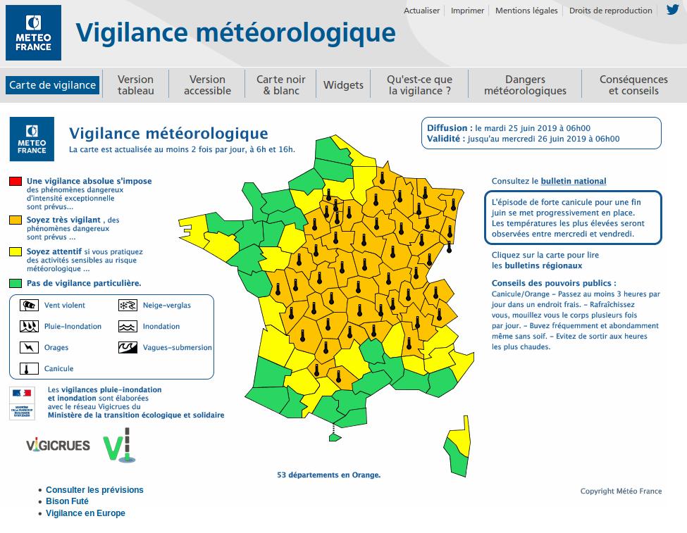 Carte de vigilance météorologique du mardi 25 juin 2019. @Météo France