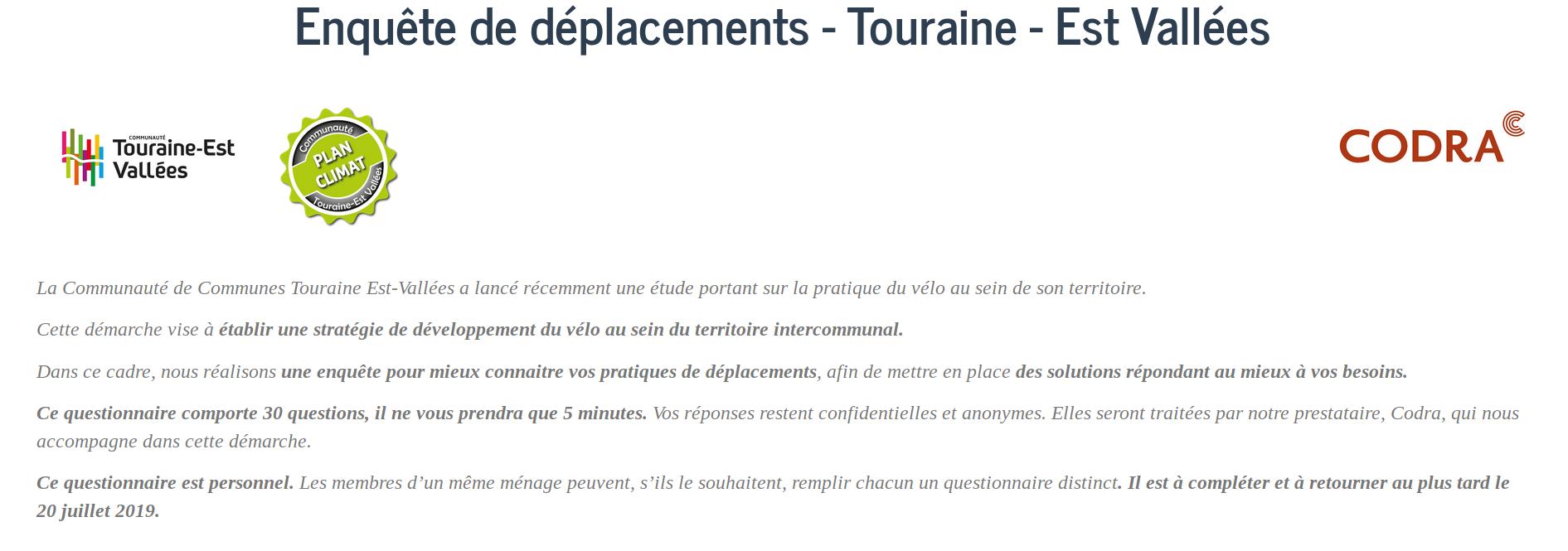 Enquête déplacements 2019 lancée par la Communauté de Communes Touraine Est Vallées.