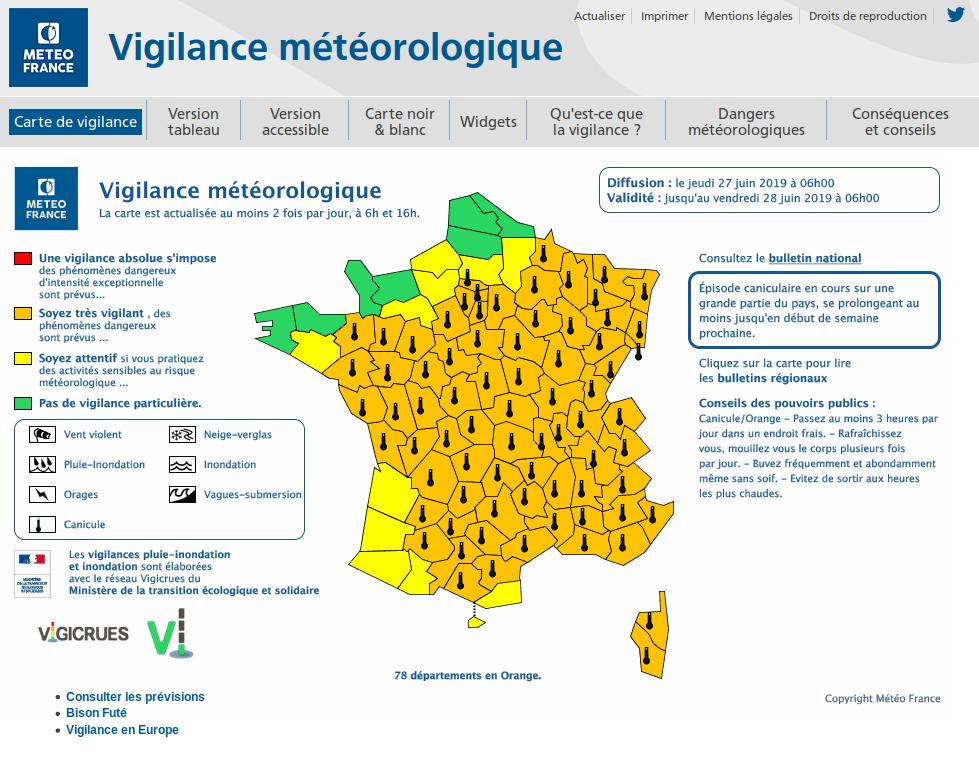 Carte de vigilance météorologique du jeudi 27 juin 2019. @Météo France