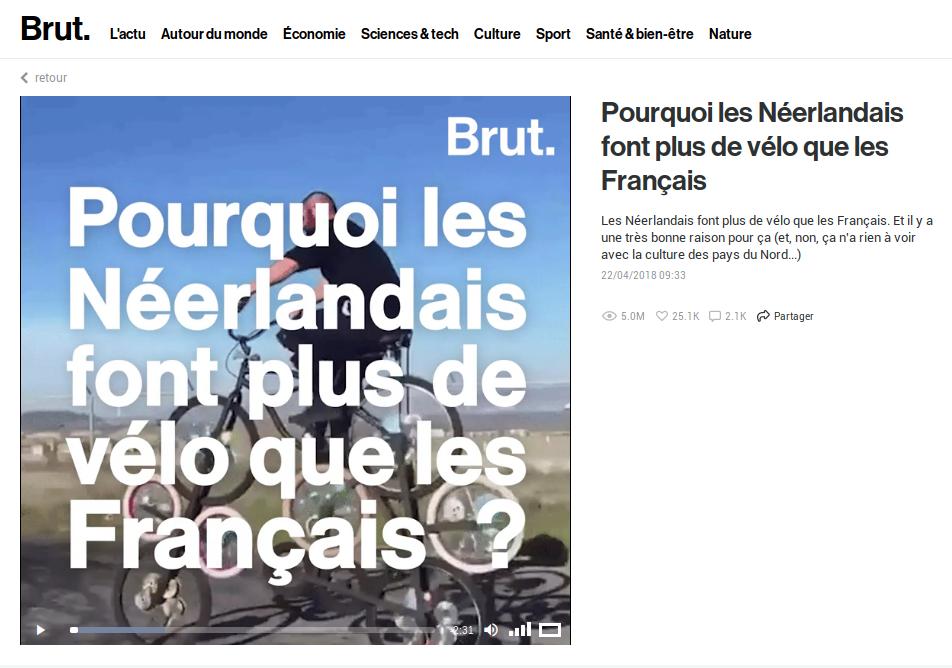 Brut, Pourquoi les Néerlandais font plus de vélo que les Français ? @Brut, 22/04/2018