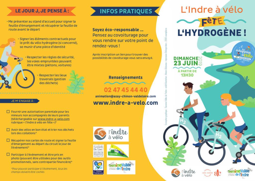 Dépliant de l'Indre à vélo fête l'hydrogène, dimanche 23 juin 2019.