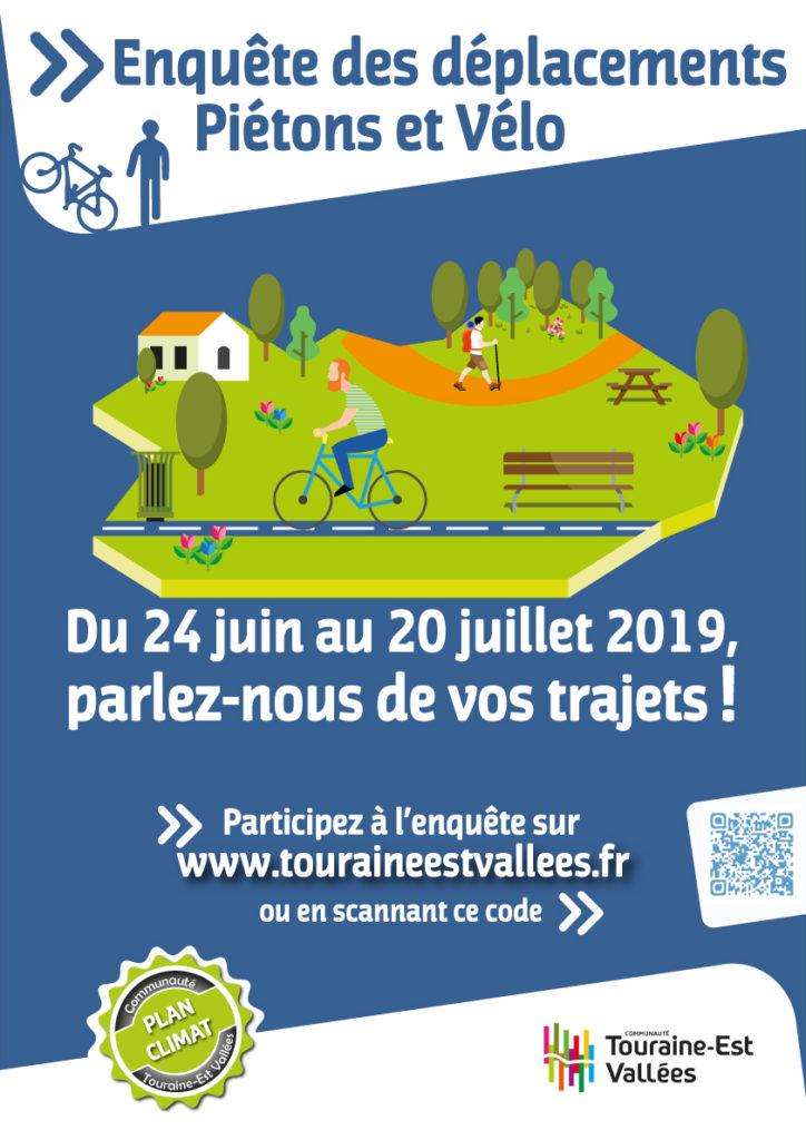 Affiche de l'enquête des déplacements piétons et vélo de la Communauté de communes Touraine Est-Vallées