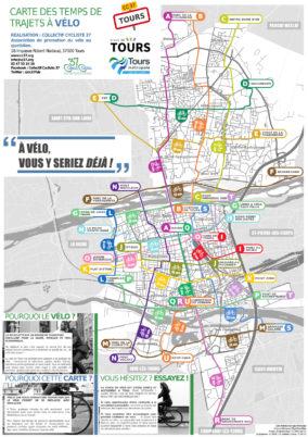 Carte des temps de trajets à vélo de Tours : elle est sortie !