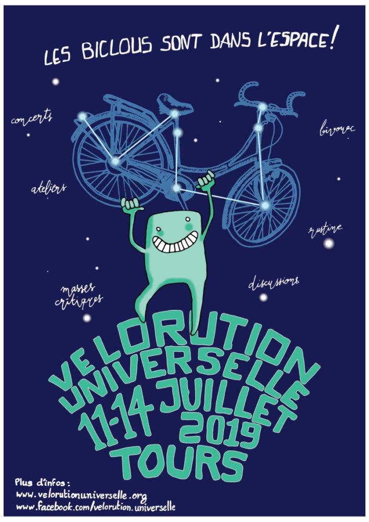 Affiche de la Vélorution Universelle 2019.