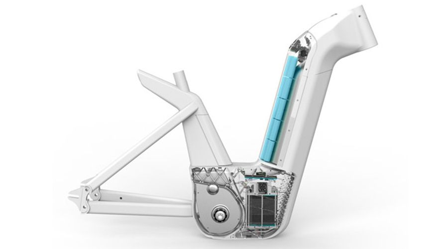 Cadre d'un vélo à pile combustible (hydrogène)
