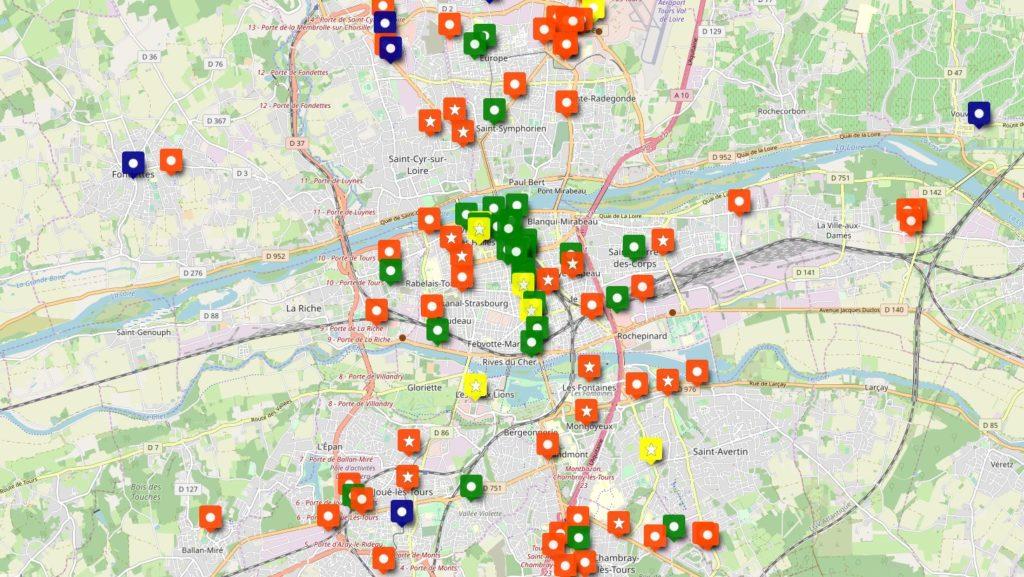 Vue du stationnement vélo dans la grande et moyenne distribution de l'agglomération de Tours.
