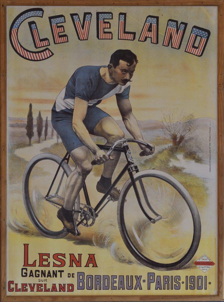 Réclame pour les cycles Cleveland, vainqueurs de l'édition 1901 de Bordeaux-Paris grâce au coureur Lesna. @Musée Maurice Dufresne, 2019.