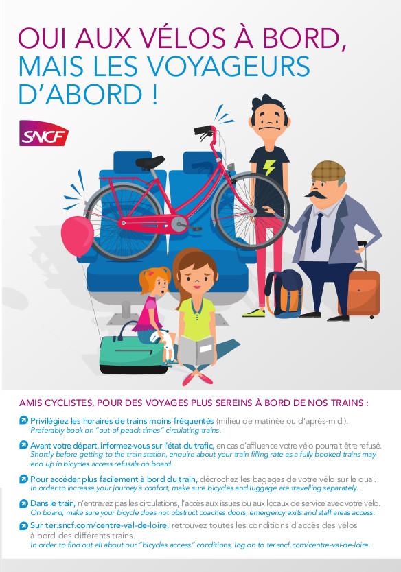 Conditions d'accès des vélos à bord des trains de la SNCF. @SNCF, 2019.