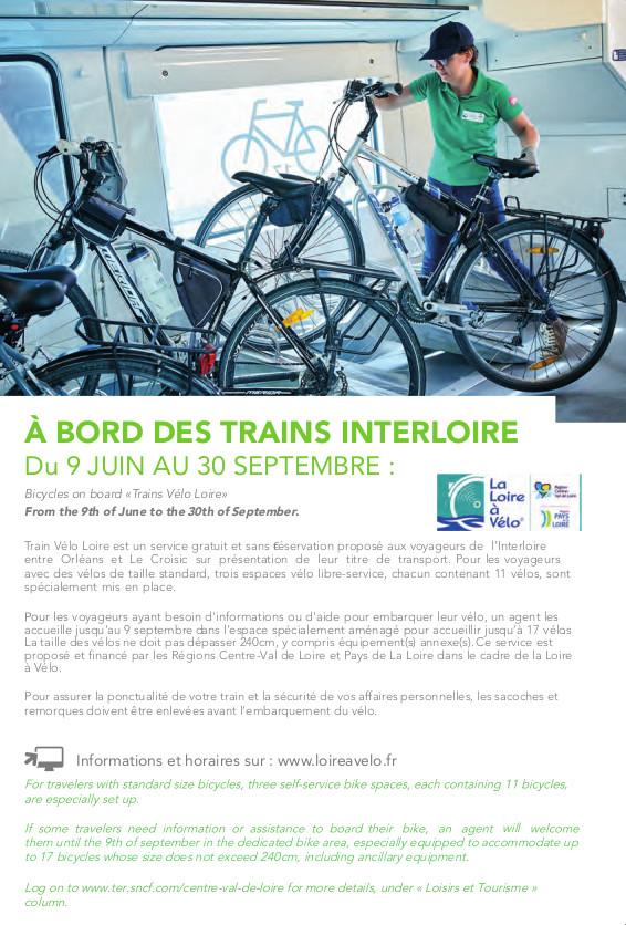Conditions d'accès des vélos à bord des trains Interloire (Loire à vélo) du 9 juin au 30 septembre 2019. @SNCF, 2019.