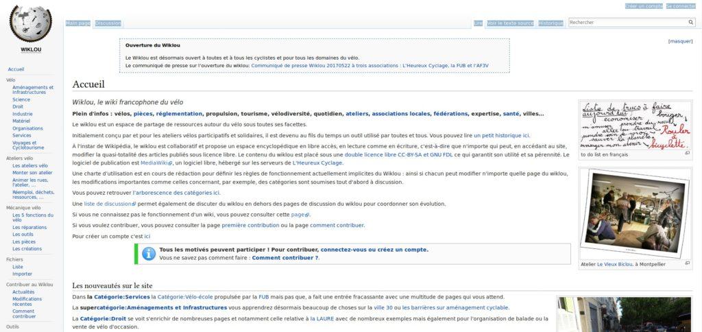 Page d'accueil du Wiklou, le wiki francophone du vélo