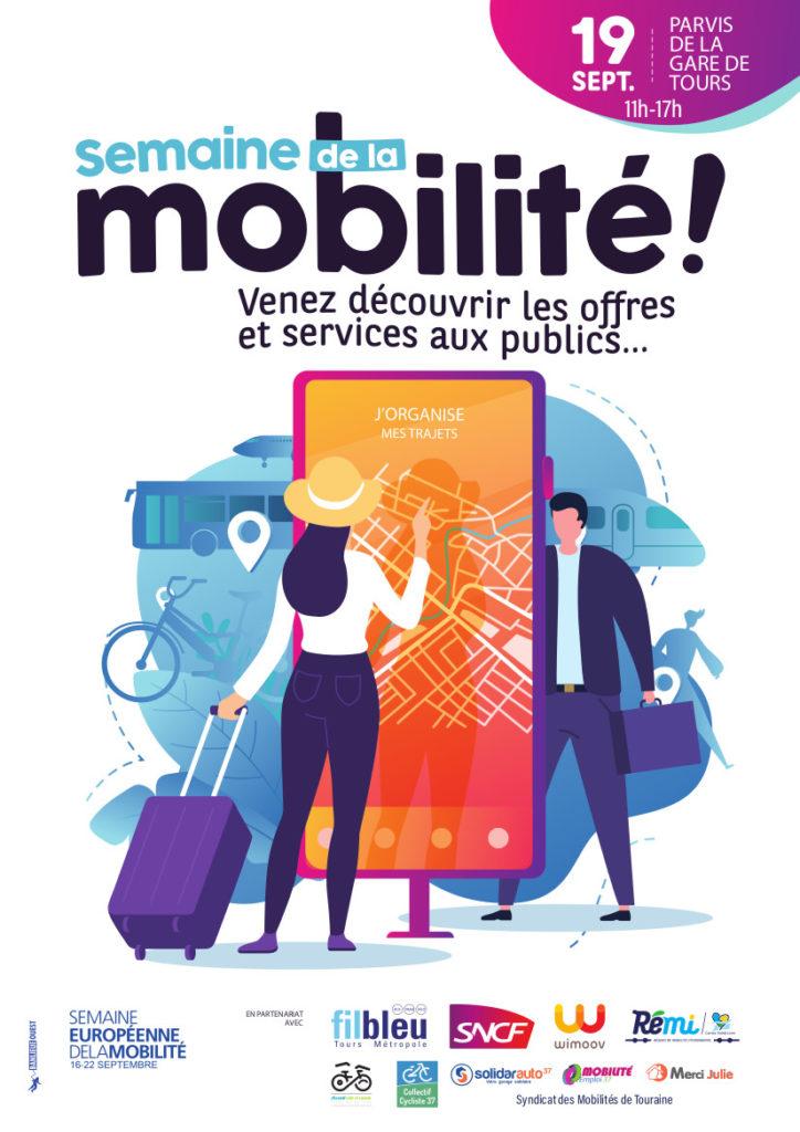 Dans le cadre de la semaine européenne de la mobilité, la plateforme de mobilité Wimoov d'Indre-et-Loire organise la Journée de la Mobilité sur le parvis de la gare de Tours le 19 septembre 2019.@Wimoov
