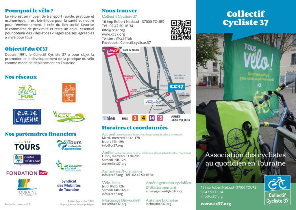 Dépliant de présentation du Collectif Cycliste 37.@CC37, septembre 2019 - une réalisation Eszett Studio.