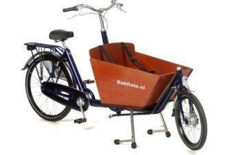 Biporteur sans assistance électrique, modèle cargobike court de chez Bakfiets. @Cyclable