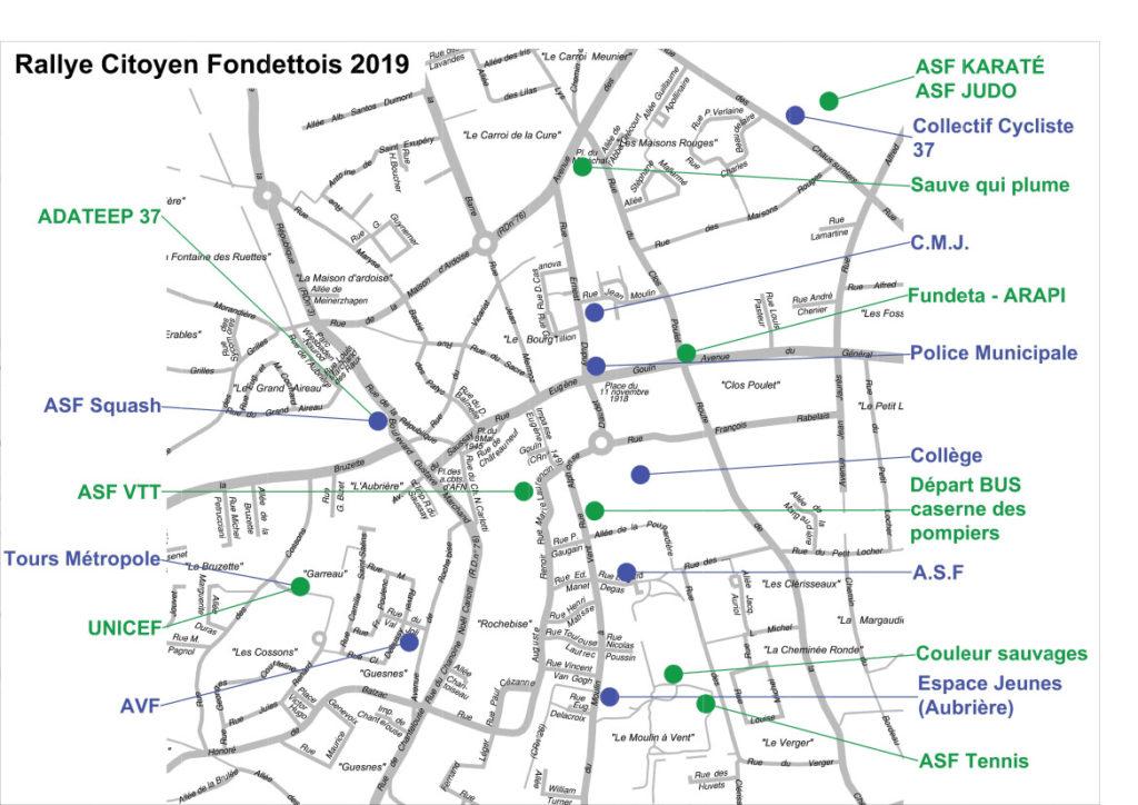Implantation des différents stands lors de l'édition 2019 du Rallye citoyen fondettois. @Ville de Fondettes