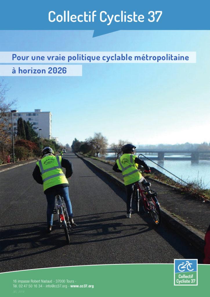 """""""Pour une vraie politique cyclable métropolitaine à horizon 2026"""", contribution du Collectif Cycliste 37 à la campagne des municipales de 2020 sur Tours Métropole Val de Loire, couverture du dossier de presse.@Collectif Cycliste 37, 3 décembre 2019."""