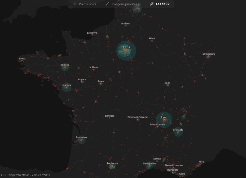 Carte collaborative des points noirs et tronçons à aménager de façon prioritaire en France à l'issue du Baromètre des villes cyclables 2019.@Laurent Nison et Bruno Adelé - FUB