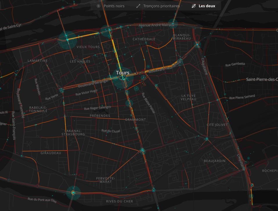 Carte collaborative des points noirs et tronçons à aménager de façon prioritaire à Tours centre à l'issue du Baromètre des villes cyclables 2019.@Laurent Nison et Bruno Adelé - FUB