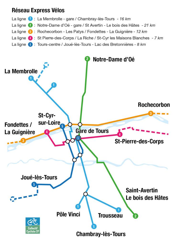 5 lignes pour un futur Réseau Express Vélos de la métropole tourangelle. @Collectif cycliste 37