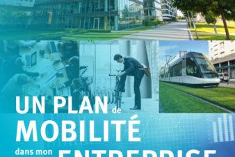 """Couverture du guide """"Un plan de mobilité dans mon entreprise"""" réalisé par le Réseau Action Climat en partenariat avec l'ADEME et CCI France."""