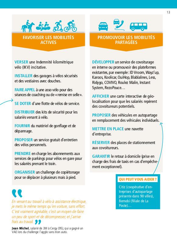 """""""Favoriser les mobilités actives"""" à l'occasion d'un plan de mobilité : extrait du guide """"Un plan de mobilité dans mon entreprise"""" réalisé par le Réseau Action Climat en partenariat avec l'ADEME et CCI France."""