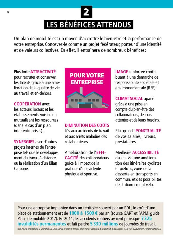 """""""Les bénéfices attendus pour votre entreprise"""" d'un plan de mobilité : extrait du guide """"Un plan de mobilité dans mon entreprise"""" réalisé par le Réseau Action Climat en partenariat avec l'ADEME et CCI France."""