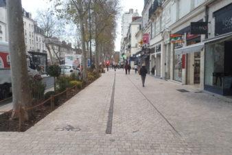 Avenue de Grammont, à Tours : vue du trottoir (à droite) et du nouvel aménagement cyclable (à gauche). @CC37