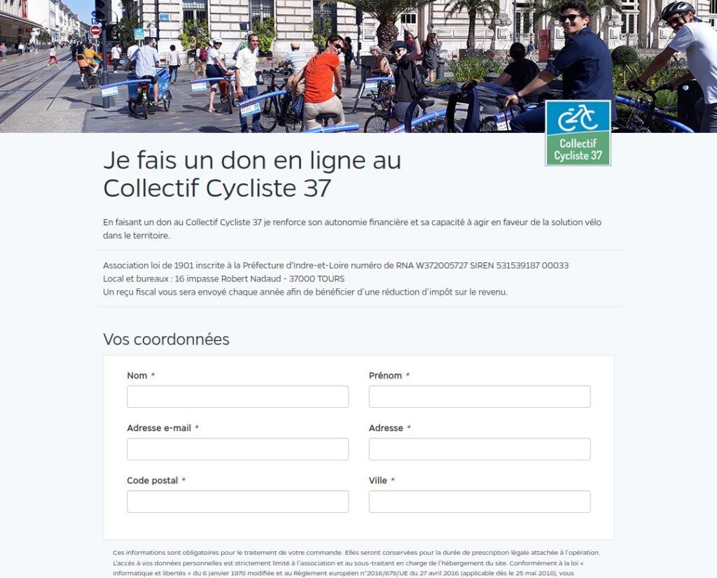 Vue de la plateforme sécurisée payassociation.fr qui permet de faire un don en ligne au Collectif Cycliste 37.