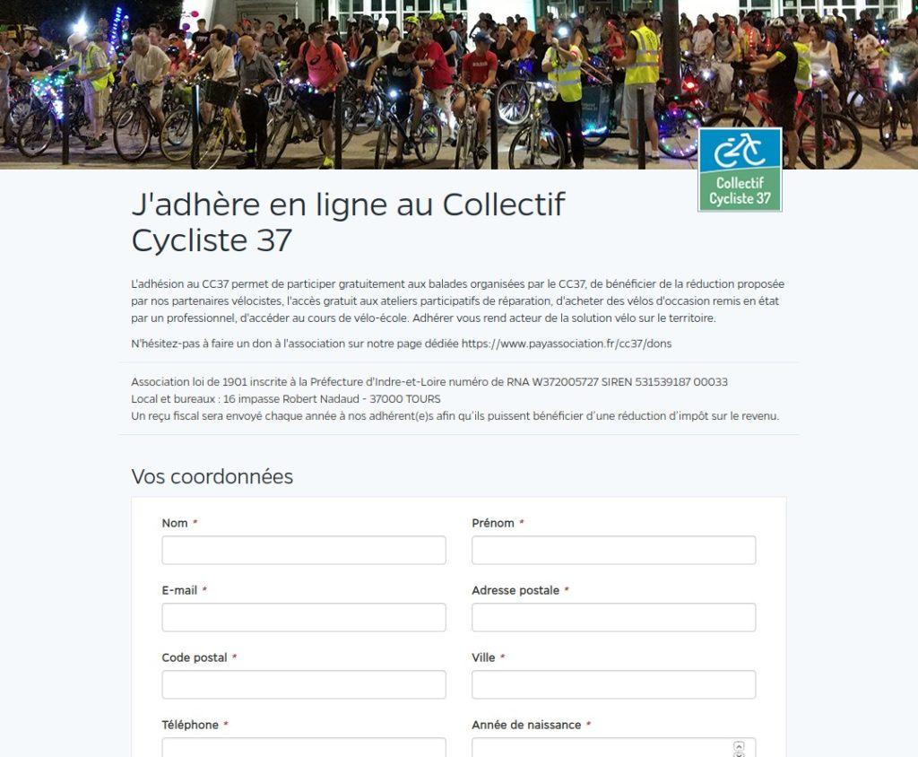 Vue de la plateforme sécurisée payassociation.fr qui permet d'adhérer en ligne au Collectif Cycliste 37.