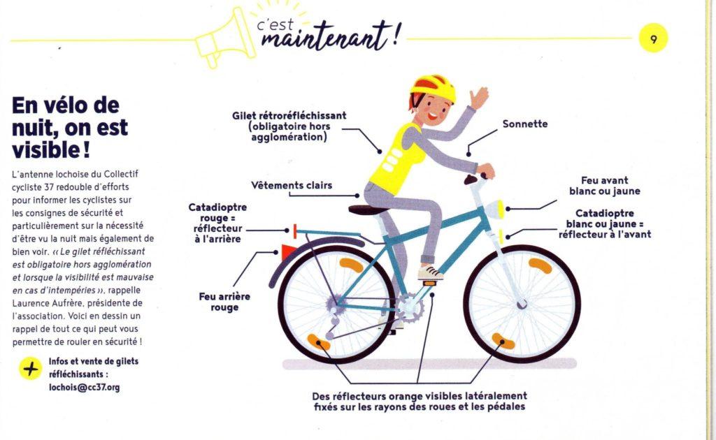 """Communiqué paru dans """"Le Mag de Loches Sud Touraine"""" - Hiver 2020 (paru en janvier 2020) sur l'éclairage des vélos à l'occasion de l'opération « Cyclistes, brillez ! » à Loches le vendredi 6 décembre 2019. @CC Loches Sud Touraine, 2019."""