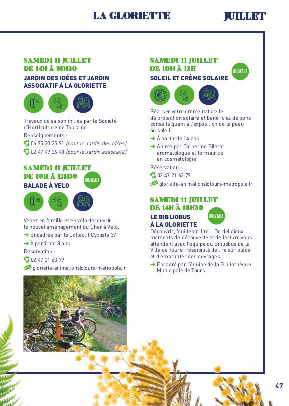 """""""Balade à vélo sur le Cher à vélo"""", programme 2020 des animations tout public de la Gloriette. @Tours Métropole Val de Loire"""