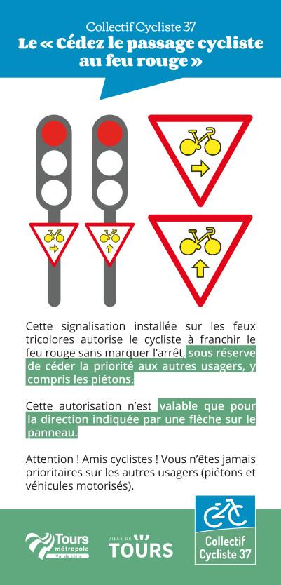 """Flyer """"Le cédez-le-passage cycliste au feu rouge"""". @CC37, 2020."""