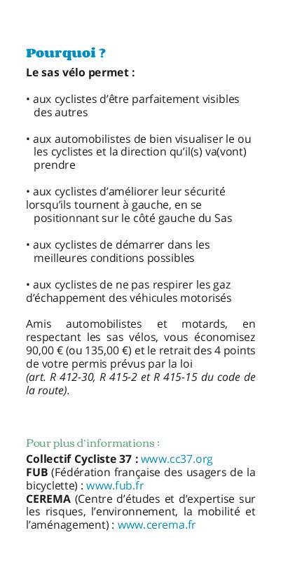 """Flyer """"Le sas vélo"""". @CC37, 2020."""