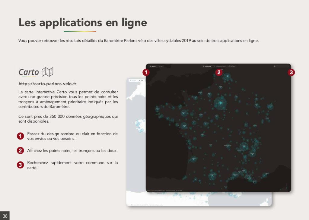 Les applications en ligne en lien avec le Baromètre des villes cyclables 2019. @FUB, dossier de presse, 6 février 2020.