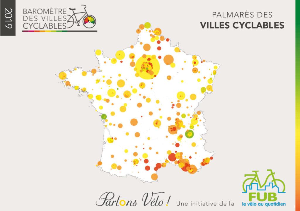 Palmarès des villes cyclables issu du Baromètre des villes cyclables 2019. @FUB, dossier de presse, 6 février 2020.