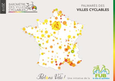 Palmarès national du Baromètre des villes cyclables 2019 : quelques belles progressions, mais une majorité de villes de France ont encore des efforts à faire