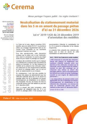 Neutralisation du stationnement motorisé dans les 5 m. en amont du passage piéton d'ici au 31 décembre 2026