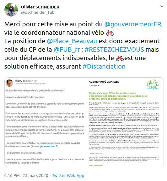 Tweet d'Olivier Schneider, président de la FUB en date du 23 mars 2020 concernant le vélo comme mode de déplacement pendant le confinement.