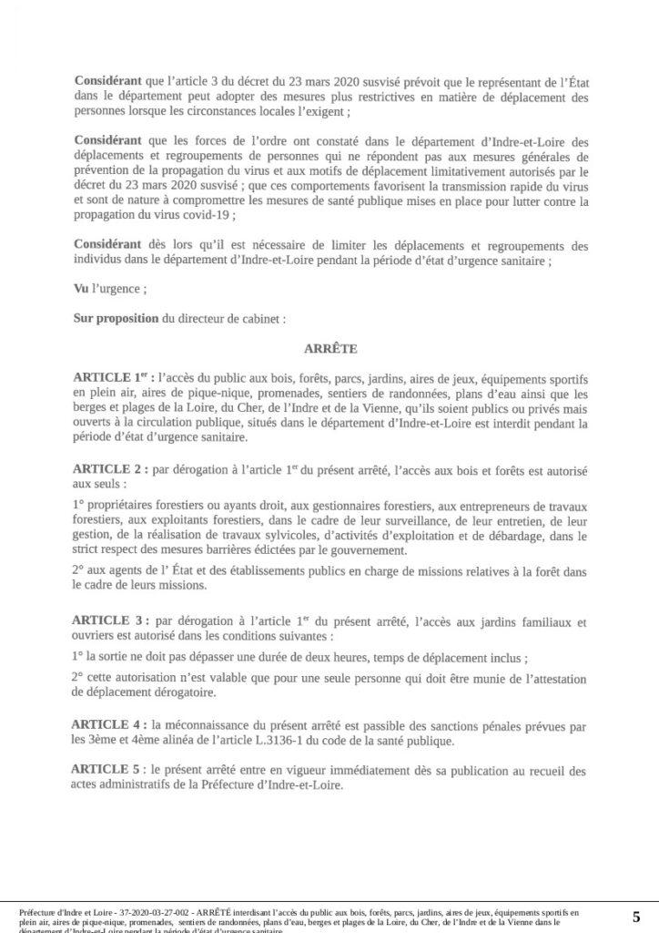 Préfecture d'Indre-et-Loire : arrêté 37-2020-03-27-002 du 27 mars 2020