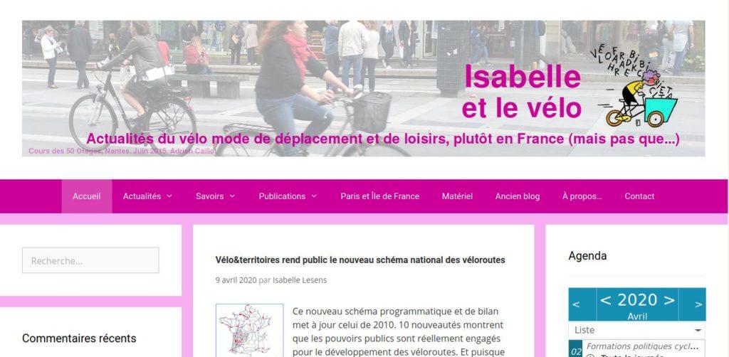 Capture d'écran de la page d'accueil du blog Isabelle et le vélo en date du 11 avril 2020.