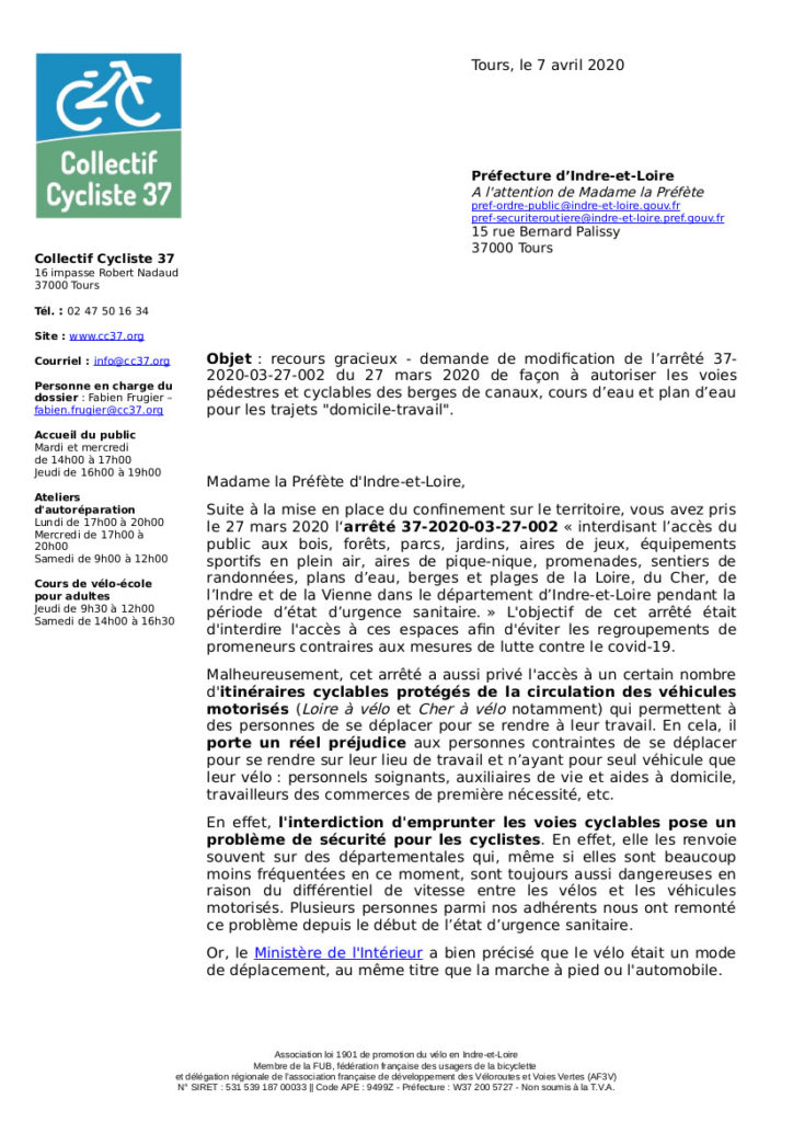 Courrier du du Collectif Cycliste 37 à l'attention de Madame la Préfète d'Indre-et-Loire en date du 7 avril 2020, page 1.