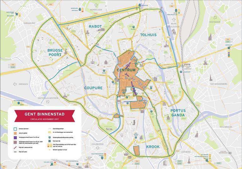 Les 5 zones interdites aux véhicules privés, dont la zone centrale, représentent 51 ha. depuis le 3 avril 2017. Il s'agit du plus grand piétonnier commercial de Flandre.