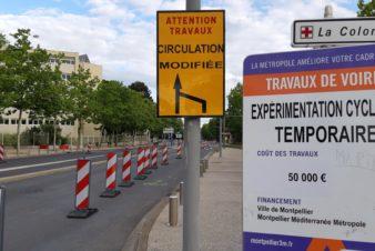 Piste cyclable temporaire à Montpellier, avril 2020. Photo : BikeSailnHike, Vélocité Grand Montpellier.