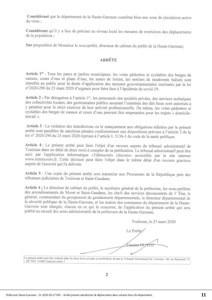 Préfecture de Haute-Garonne : arrêté n° 31-2020-03-27-001 portant interdiction de déplacement dans certains lieux du département.