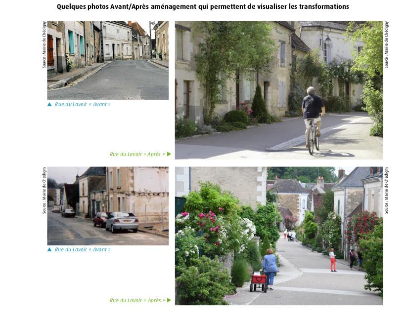 Le village de Chédigny, Indre-et-Loire : quelques photos Avant/Après qui permettent de visualiser les transformations. Source : Mairie de Chédigny.