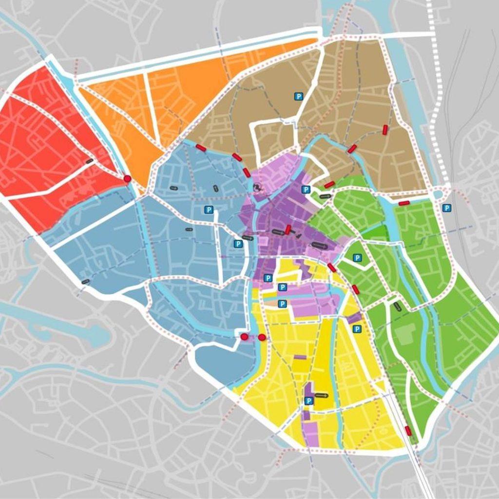 La division de la ville de Gand en 6 zones distinctes (sans compter la zone centrale, en violet, exclusivement piétonne) que les voitures ne peuvent pas traverser sans emprunter le périphérique (trait blanc épais en bordure des 7 zones).