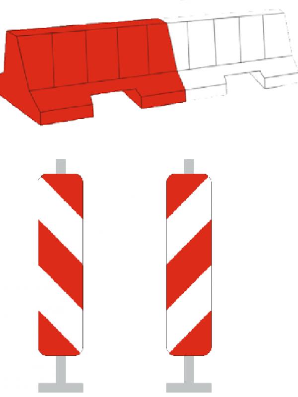 Des balises d'alignement ou des séparateurs modulaires de voie ou l'utilisation de matériel réglementaire de signalisation de chantier pour création des aménagements provisoires. Source : CEREMA.