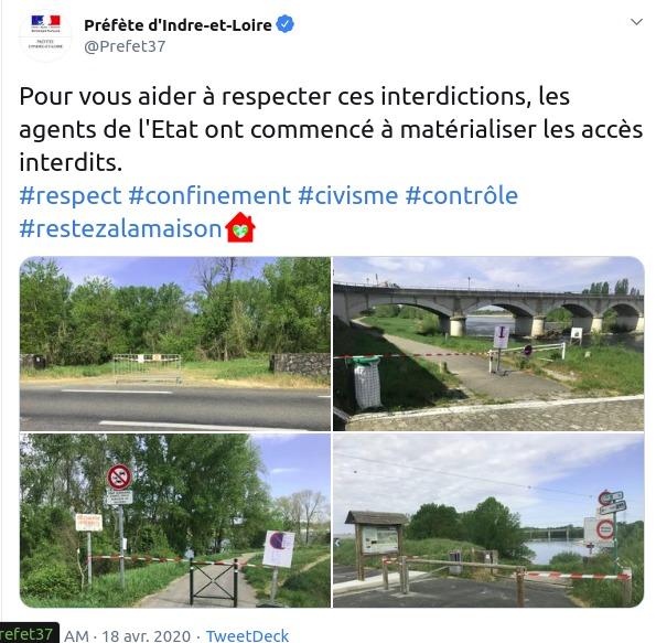 Tweet de la Préfecture d'Indre-et-Loire daté du 18 avril 2020.