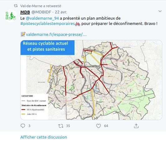 Le plan de pistes cyclables temporaires du Conseil départemental du Val de Marne pour le déconfinement.